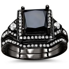 Another black gold and black diamond ring.