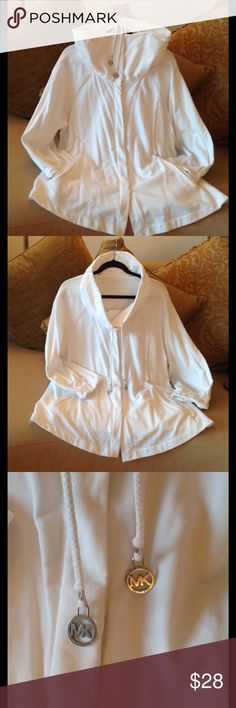 🍃🌺 'MICHAEL'  Michael Kors - Pure White Top 🍃 Michael Kors pure white, high neck Top. Size 2X. Silver Snaps for closures. Made of 95%  Cotton/ 5% Spandex.  The cuffs have nice 'Gathers' in them and the sleeves stops above the wrists. A drawstring with Two Michael Kors Emblems on the string tips. Super soft and comfortable! 🍃 MICHAEL Michael Kors Tops