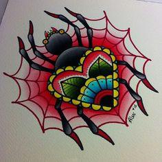Spider tattoo painting by Alex Strangler