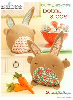 PDF Sewing Pattern Betsy & Basil Bunny Softies