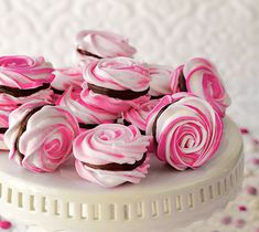French Meringues with Strawberry Ganache Filling