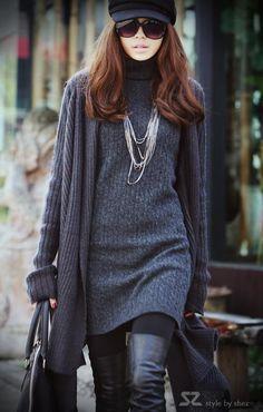 Lady Fashion Asym Hem Front Open Cape Sweater Coat