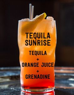 Tequila Sunrise: Tequila, Orange Juice, Grenadine. 17 Three-Ingredient Cocktails You Should Know How To Make via @buzzfeedfood