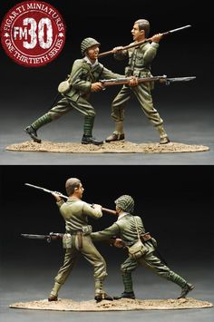 World War II Pacific WIJ-005 Chop to the Face U.S.M.C. vs. Japanese - Made by Figarti Military Miniatures and Models. Factory made, hand assembled, painted and boxed in a padded decorative box. Excellent gift for the enthusiast.