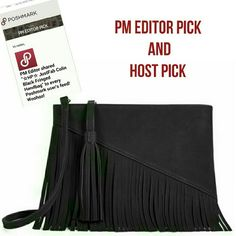 ☆PM Editor/HP☆ JustFab Colin Black Fringed Handbag PM Editor Pick 1/22/16  This season is all about fringe and Colin is the perfect added accessory to be on-trend. It features a top zip with a tassel detail, removable shoulder strap and cascading fringe detailing. It's the right amount of boho you need in your life.      Material: Faux Leather     Size: 11L x 8.5H     Hardware color: Gold     Shoulder drop measurement : N/A     Removable Adjustable Shoulder Strap     Pockets: 1 interior…