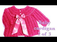01 Crochet baby cardigan months part 1 Welcome to my channel Crochet for Baby. In todays tutorial I will show you how to crochet this easy to do cardigan or baby jacket for a baby girl from months. Since this is a long tutorial, I decided to Crochet Baby Cardigan Free Pattern, Crochet Baby Sweaters, Baby Sweater Patterns, Crochet Baby Clothes, Newborn Crochet, Crochet Cardigan, Baby Knitting, Crochet Patterns, Knitting Patterns