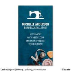 Crafting Space   Sewing Equipment Business Card Magnet