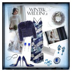 """Untitled #1181...""A Winter Wedding Guest"""" by onesweetthing ❤ liked on Polyvore featuring Alice + Olivia, Christian Louboutin, Jimmy Choo, LE VIAN, Alexander Laut, Blue La Rue and Waterford"