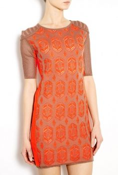 Orange Dita Two Tone Lace Knitted Cocktail Dress by Dagmar