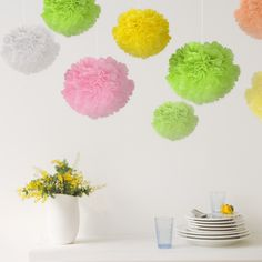 Naice Tissue Paper Pom Poms Flower Pom Poms Craft for Wedding Decoration Party Favors Pom Poms Set, 6 Warm Colors, 24Pcs of 8'' 10' 12' 14' * Check out this great product.