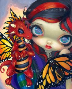Darling Dragonling III baby butterfly dragon 3 fairy art print by Jasmine Becket-Griffith 8x10