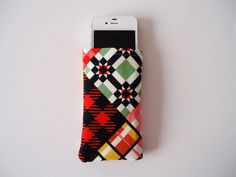 iPhone 5 and 5S sleeve with bright colored block print by byvala