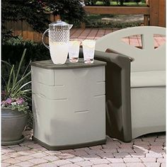 Outdoor Storage Deck Box Patio Garden Yard Resin Wicker Plastic Seat Pool Bin #OutdoorStorageDeckBox