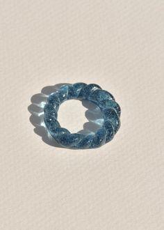 Slate Blue Glass Rope Ring - 5