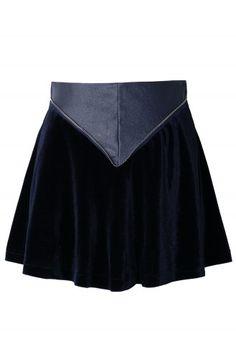 Triangle Faux Leather Velvet Skater Skirt in Navy