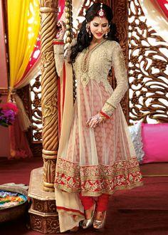 Cream & Red Net and Jacquard Anarkali Salwar Kameez Online Shopping : 354SL05