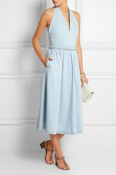 VALENTINO Braid-trimmed denim midi dress