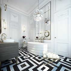 Home Interior: Elegant Bathroom With Black White Tiles, Supplemented By White Bathtub With Large Mirror Above, White Stool, White Pendant Lamp, Two Wall Mounted Lamps, And An Elegant Bathroom Vanity Unit: Classic Elegant Interior Decoration Wrapped In Luxury