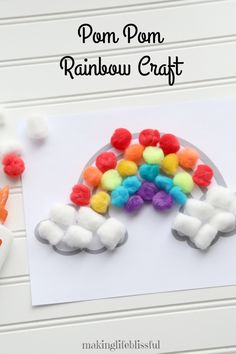 Pom Pom Rainbow Craft for Kids that is perfect for preschoolers. Rainbow craft for spring, summer or St. Patrick's Day pom Crafts for kids Rainbow Crafts for Kids Summer Crafts For Toddlers, Crafts For Teens To Make, Toddler Crafts, Crafts To Sell, Diy And Crafts, Arts And Crafts, Paper Crafts, Children Crafts, Yarn Crafts
