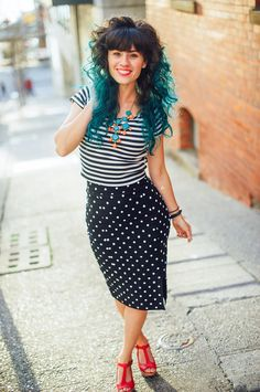 Pattern-mixing for spring! #stripes #polkadots #blackandwhite