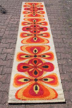 Original 60s 70s Vintage Rug Carpet Extra Long Runner Desso Wool Pop Design E Age Orange