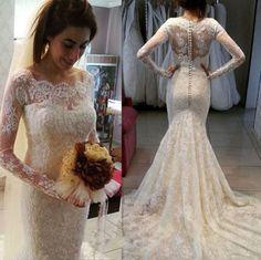 Sexy Weiß/Elfenbein Spitze Meerjungfrau Hochzeitskleid Brautkleider Abendkleid