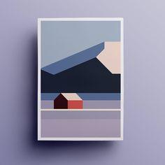 Sør-Helgeland series - - graphics and art - Geometric paint Minimal Art, Minimal Poster, Art And Illustration, Mountain Illustration, Illustrations, Landscape Art, Winter Landscape, Landscape Paintings, Landscapes