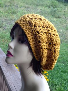 Gypsy Gold slouchy Beanie / Beret GORGEOUS by just4tdyCrochet, $26.00