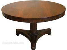 Regency Antique Rosewood Circular Tilt Top Breakfast Table on Carved Bun Feet Antique Dining Tables, Tilt, Regency, Antique Furniture, Carving, Antiques, Breakfast, Kitchen, Home Decor