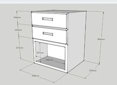 SketchUp, mesita   Geekily Woodworking Furniture, Wooden Furniture, Woodworking Plans, Furniture Design, Carpentry Projects, White Nightstand, Bed With Drawers, Cabinet Making, Filing Cabinet