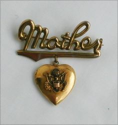 Vintage MOTHER pin heart locket USA eagle symbols soldiers mom, sooo sweet