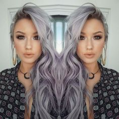 Witchy Lavender-Grey Waves - Hair Color Ideas