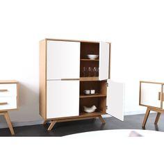Buffet scandinave haut en bois naturel et blanc 4 portes HELIA MILIBOO                                                                                                                                                                                 Plus