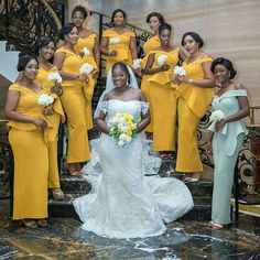 Womens Style Discover Lovely bridesmaids w/ Bride Wedding Bridesmaid Dresses Dream Wedding Dresses Wedding Attire Bridal Dresses Yellow Bridesmaids African Traditional Wedding Dress African Wedding Dress Making A Wedding Dress Nigerian Weddings African Bridesmaid Dresses, African Lace Dresses, Tulle Bridesmaid Dress, African Wedding Dress, Wedding Guest Gowns, Dream Wedding Dresses, Wedding Attire, Bridal Dresses, African Traditional Wedding Dress