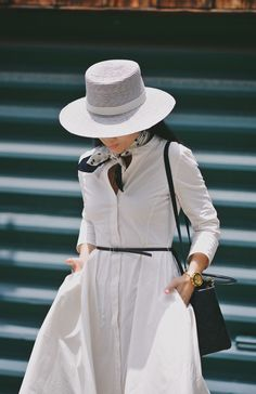 HallieDaily, Style, Street Style, Classic, Elegant, Fashion Blogger, Style Blogger, OOTD, Outfit, Personal Style, Asian Blogger, Theory, Shirt Dress, White Dress, Two-Tone Loafers, Neck Scarf, Ann Taylor Printed Silk Scarf, Lady Dior Bag, Janessa Leone 'Calla' Straw Bolero Hat, Los Angeles.