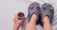 Now that the weather has officially taken a turn for the frigid. Why are my feet always cold? An expert explains. Best Slippers, Loafer Slippers, Always Cold, Winter Survival, Knitted Cat, Yarn Inspiration, Cold Feet, Look Thinner, Cat Sweaters