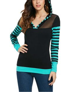 Stripes Appliqued Hoodie Basic Long Sleeve T-Shirts Clothing Patterns, Dress Patterns, Floral Print Shirt, Shirt Sleeves, Types Of Shirts, Sleeve Styles, Blouses For Women, Casual Shirts, Stripes