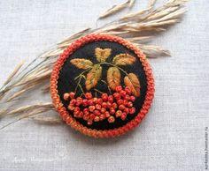 Создаем брошь из фетра с вышивкой «Рябинка» - Ярмарка Мастеров - ручная работа, handmade