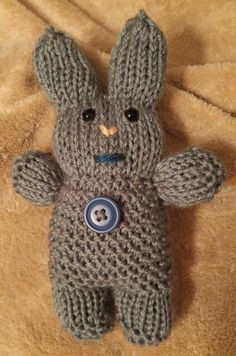 Free Knitting Pattern for Basic Bunny Rabbit - This easy bunny toy is knit flat and uses 25 – 50 yards (23 – 46 m) of worsted yarn. Designed by Lynn Flatley