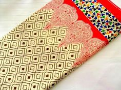 Block Printed Cotton Fabric with border, geometric print Indian cotton fabric, dress material, quilting, sewing, half yard