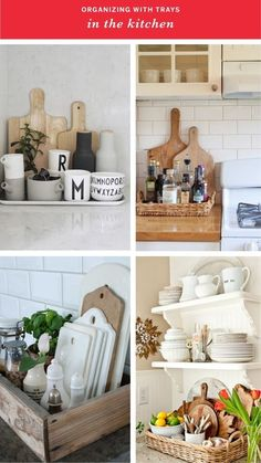 Control the Clutter: Organizing with Trays In Every Room of the House IN THE KITCHEN (clockwise from top left): The Design Chaser / Jennifer Grey Interiors via Houzz / Heather Bullard / Romantiska Hem Diy Kitchen, Kitchen Wood, Kitchen Cupboards, Kitchen Benches, Kitchen Ideas, Decorating Kitchen Counters, Kitchen Counter Storage, Kitchen Sink Decor, Beach Kitchen Decor
