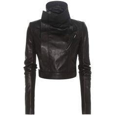 Rick Owens Cropped Leather Biker Jacket ($1,236) ❤ liked on Polyvore featuring outerwear, jackets, cropped motorcycle jacket, rick owens jacket, leather motorcycle jacket, leather jackets and real leather jackets