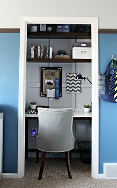IHeart Organizing: Closet Office Makeover - Mission Accomplished! Love the fun organizational touches, and the paneled walls!