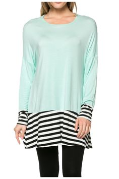 Long Dolman Sleeve Tunic W/ Striped Hem