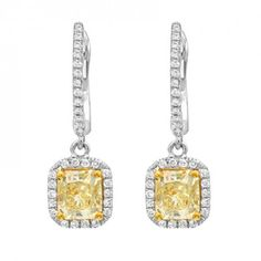 Diamond Drop EarRing S with two Radiant Cut Yellow Diamonds set in 18KT White and Yellow Gold (2.30ctw) SEE16377Y-IALD