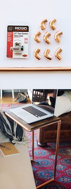 Mesa DIY para tu portátil - houseofjadeinteriorsblog.com - DIY Copper Laptop Table