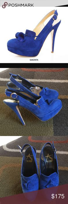 """Abel Munoz heels❤️ Style is """"Giacinta"""" ❤️ Royal blue suede platform slingback heels ❤️ made in Italy ❤️ front measures approx 1"""" ❤️ heel measures approx 5"""" ❤️ shoes have light wear please see pics Abel Munoz Shoes Heels"""