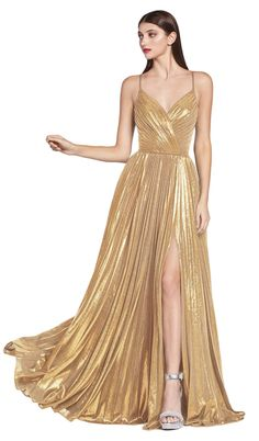 Elegant Cinderella Divine evening dress: A-line dress silhouette Metallic pleated fabric V-neckline Size Chart This item ships within two business days Gown With Slit, Slit Dress, Gold Formal Dress, Long Gold Dress, Gold Gown, Formal Dresses, Outfit Des Tages, Pleated Fabric, Pleated Skirt
