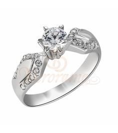 Μονόπετρo δαχτυλίδι Κ18 λευκόχρυσο με διαμάντι κοπής brilliant - MBR_065