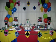 Candy Table At A Power Rangers Themed Kids Birthday Party
